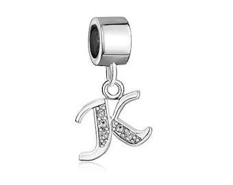 Initial K bead, Big Hole Charm, Charm Bracelet Bead, Large Hole Bead, European Bead, Eurobead, Pugster Charm