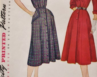 1950s Shirtwaist Dress Sewing Pattern, Wide Collar, Full Skirt, Simplicity 3707, Bust 35, Vintage