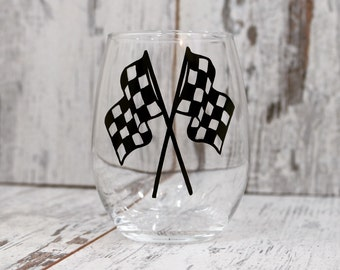Wine Glass, Checkered Flags Wine Glass, Racing Decor, Nascar Gift, Racing Gift, Dirt Track Racing, Home Bar, Gift for Race Fan,Wine Gift