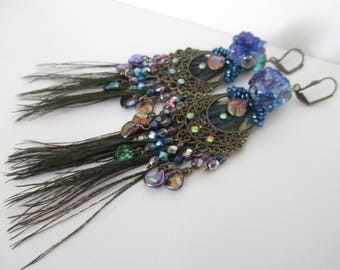 "Earrings ""Collection Peacock"" on a chandelier connector with ""rose petals"" Czech glass beads and real peacock feathers"