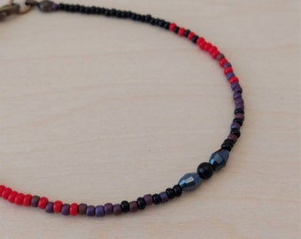 Red, Purple and Black Dainty Bracelet