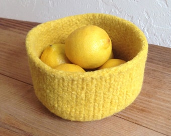 Felted Bowl in Lemon Yellow