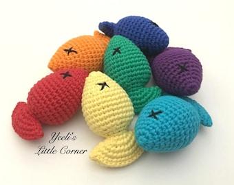 Rainbow fish catnip toys, Set of 3, stuffed fish cat toy, rainbow fish, cotton yarn cat toys, natural catnip cat toy, unique cat toys