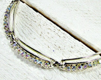 Vintage AB Crystal Choker Necklace, Modernist Gold Choker Necklace, Modern Rhinestone Necklace, 1950s Mid-Century Modern Costume Jewelry
