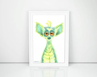 Watercolor Lemur Digital Download