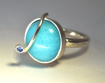 """Silver ring with Amazonite - """"Parentesi"""" collection"""