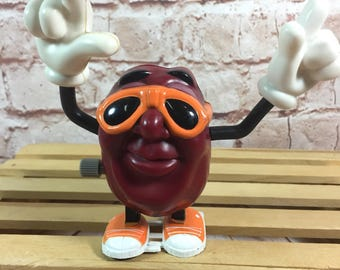 """Vintage 1988 California Raisins with Sunglasses Wind Up Action Figure Toy by Applause 4"""""""