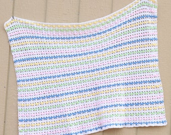 Handmade Crocheted Popcorn Stitch Baby Blanket, Baby Afghan