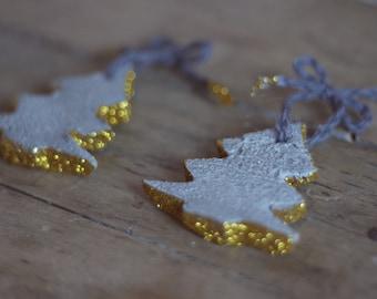 Modern Holiday Decor - Christmas Concrete Ornaments - Gold Concrete Ornaments - Modern Touch