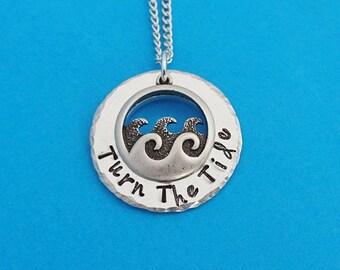 turn the tide, wave necklace, wave pendant, ocean necklace, ocean jewelry, wave jewelry, nautical jewelry, ocean waves necklace,ocean, wave