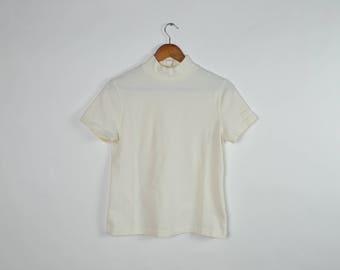 Vintage White Mock Turtleneck Tee