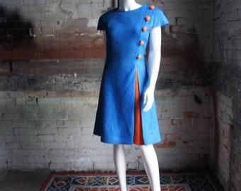 ARNOLD SCASSI Vintage 1980's Mod Colour Blocked Linen Dress, Size 8