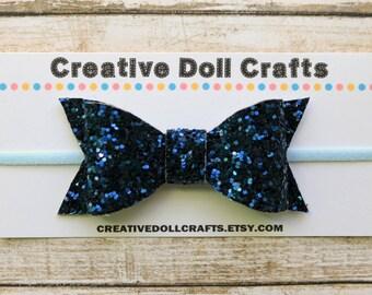 Doll Headband, Navy Doll Headband, Blue Doll Bow, Doll Glitter Bow, 18 Inch Doll, AG Doll Headband, Doll Hair Accessory, 4th of July Bow