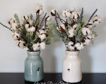 Rustic Farmhouse Cotton Stem Arrangement in Ceramic Vase