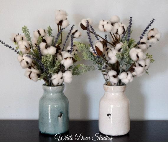 Rustic Farmhouse Cotton Stem Arrangement in Ceramic Vase