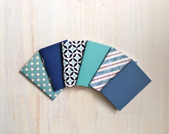 Notebooks: 6 Tiny Journal Set, Blue, Patterned, Favor, Small Notebooks, For Her, For Him, Gift, Unique, Mini Journals, Party, Wedding, T113