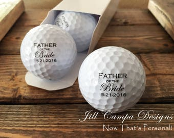 Father of the Bride Gift, Wedding Party Gifts for Him, Golf Gifts, Personalized Golf Balls, Wedding Favors, Dad Gift, Set of 3
