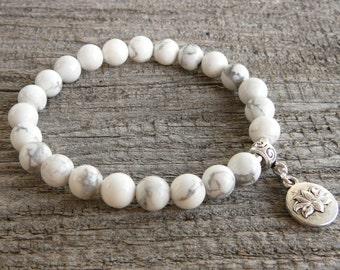 White Howlite Bracelet Gemstone Bracelet Stretch Beaded Bracelet Womens Bracelet Healing Stone Bracelet Lotus Charm Bracelet Lotus Bracelet