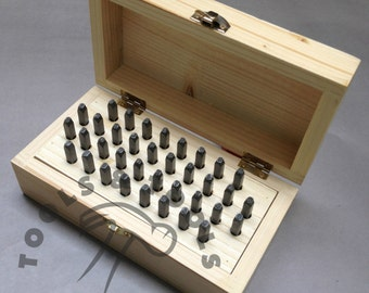 36 PIECE STEEL LETTERS and numbers punch stamps 1.5 mm in wood box jewelry marking