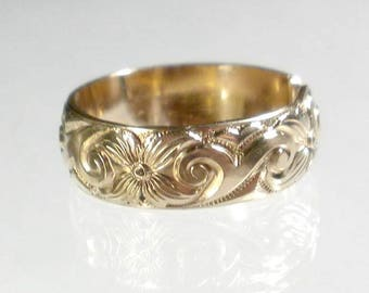 Gold Band Ring Wide Band Ring Adjustable Ring Gold Patterned Gold Ring