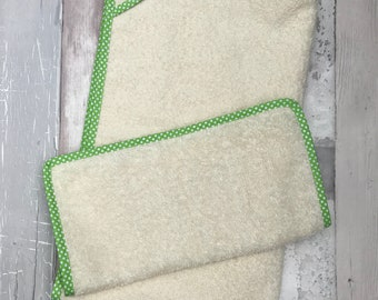 Wash Cloth and Hand Towel Set - Unbleached Organic Cotton Towelling - Bias Edged - Wash Cloth - Organic
