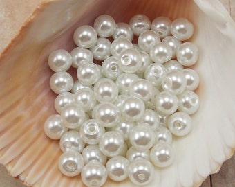 8mm Glass Pearls - Snow White - 50 pieces