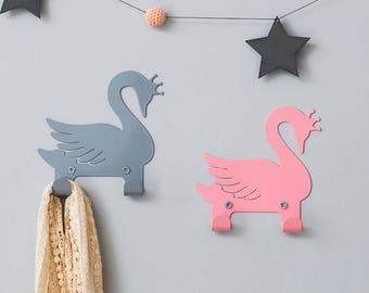 Two Metal coat rack, animal hooks for kids, girls bedroom decorative wall hanger, White nursery Swan décor, jewelry hanger organizer