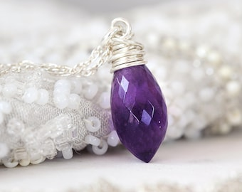 Silver Amethyst Necklace -  Wire Wrapped Pendant - Amethyst Pendant - February Birthstone Gift - Wire Wrapped Crystal Necklace