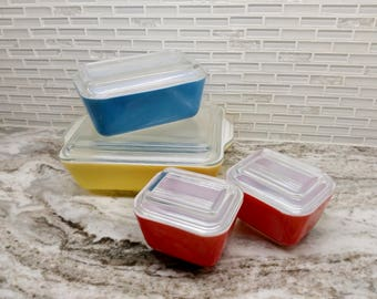 1950s Pyrex Primary color refrigerator set, primary color fridgies, primary fridge set, colorful pyrex