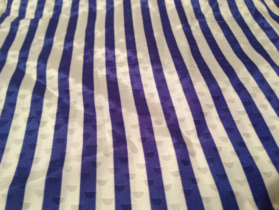 Blue and White Polyester Striped Fabric F35
