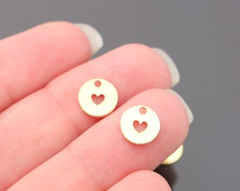 Earring findings Gold Tarnish resistant small circle heart charm, pendant, connector, 2 pc,  S511835