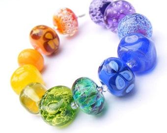 Handmade lampwork glass bead set of 12 renegade beads - lampwork orphan beads in rainbow colours