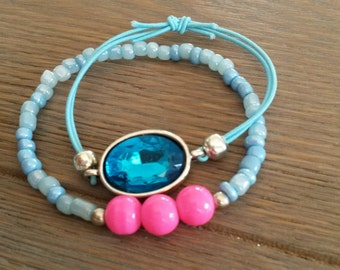 Cute set of 2 bracelets summer bracelets blue bracelet pink bracelet