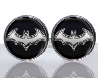 Round Glass Tile Cuff Links - Batman Symbol Modern CIR153