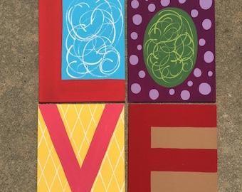 LOVE paintings set of 4