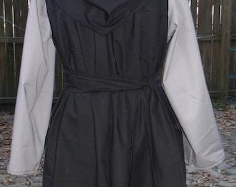 Renaissance Tunic LARP SCAsm/md Black with Gray