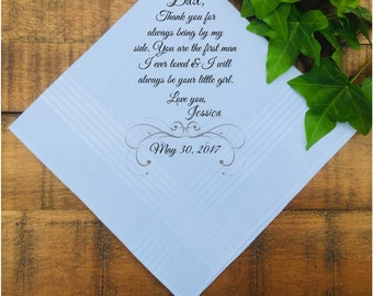 Father of the Bride Gift, Father of the Bride Handkerchief, Father of the Groom, Parents Wedding Gift, PRINTED Handkerchief (H 111)