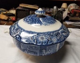 Staffordshire Liberty blue  soup Tureen