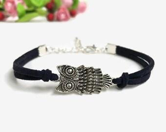 Owl bracelet Friendship bracelet owl charm Wise owl bracelet Suede cord bracelet Silver owl jewelry Owl lover bracelet Gift for women