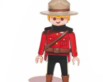 "Canadian Mountie Toy Art - Fine Art Giclee Print 5"" x 7""- Playmobil art, toy art"