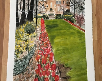 """The """"Alley"""" at Kingwood Gardens in Mansfield, Ohio. Spring blooming tulip landscape; original painting by The Praying Painter; FWS Member"""