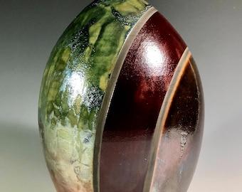 Striped Raku Fired Vase