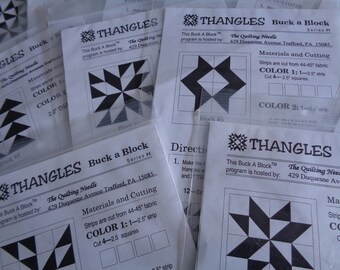 Thangles 12 Quilt Blocks Patterns and Fabric Kits for Easy Paper Piecing