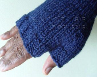 Men's Hand Knit Fingerless Gloves You Choose The Color