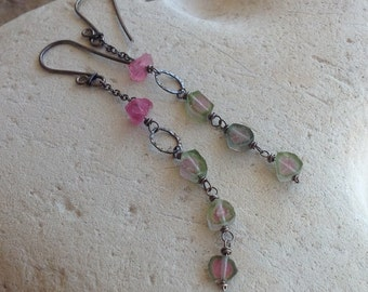 WATERMELON Tourmaline earrings with pink Tourmaline and sterling silver, Raw Tourmaline slices, Angry Hair Jewelry