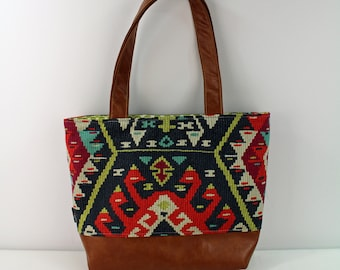 Lulu Large Tote Diaper Bag Fiesta and PU Leather READY to SHIP- Travel Overnight Purse Nappy Bag