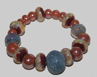 Blue and Brown Lampwork Bracelet