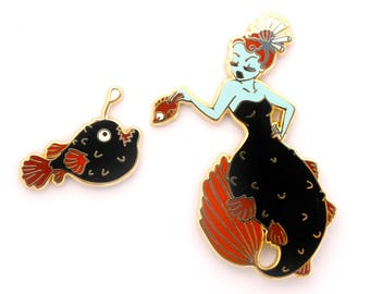 Anglerfish Mermaid Pin Set (anglerfish pin mermaid enamel pin creepy mermaid hard enamel pin lapel pin badge deep sea jewelry backpack pins)