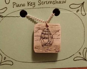 Scrimshaw Necklace Tall Ship OOAK Great Gift Idea