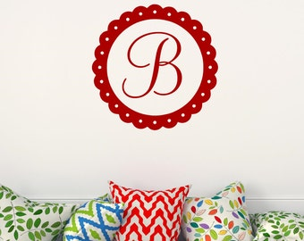 Single Initial Vinyl Monogram Wall Decal  One Letter Monogram Wall Decal Scalloped Circle Border Monogram Personalized Wall Decal